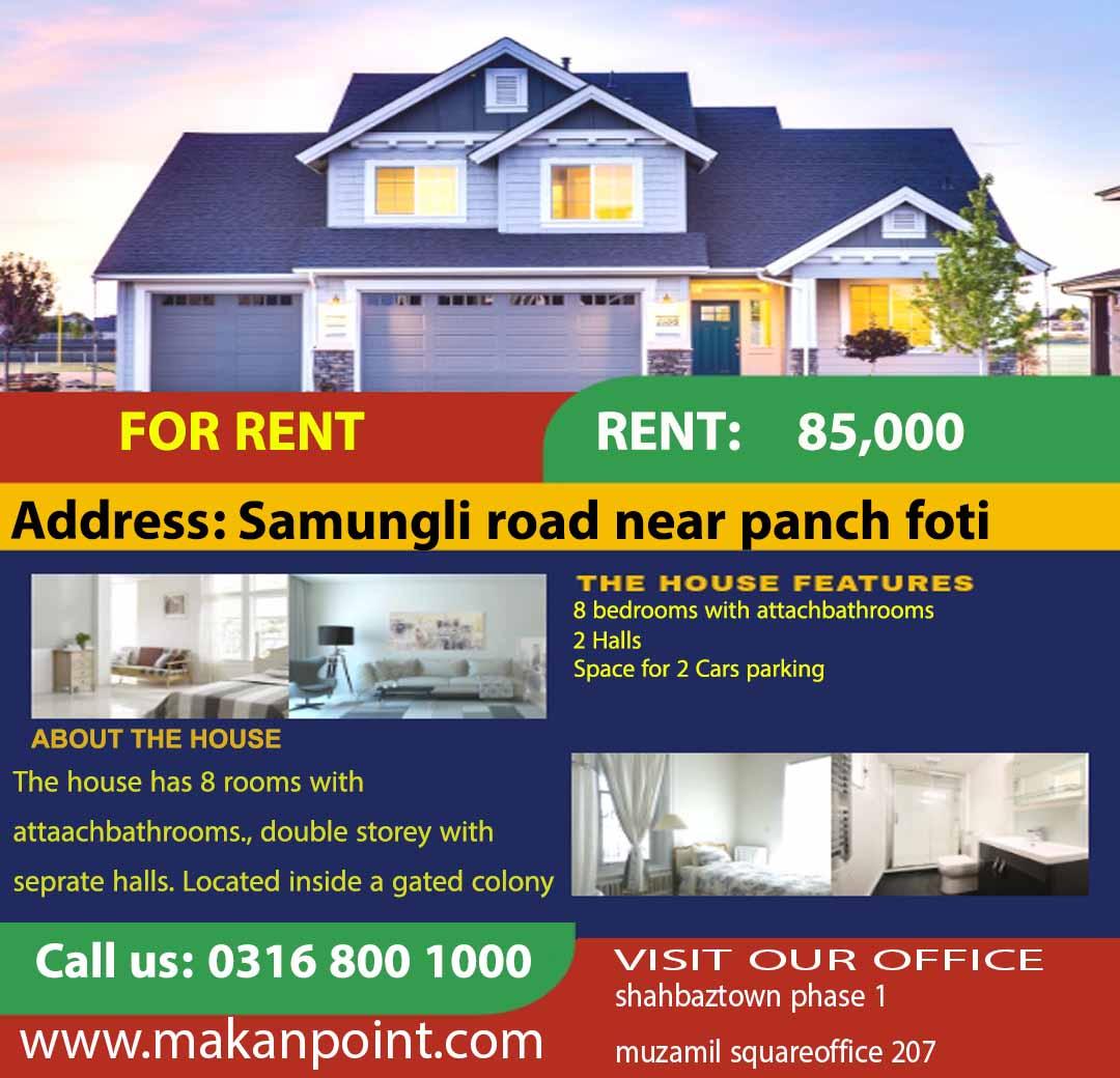 Beautiful large house for rent near samungli housing scheme
